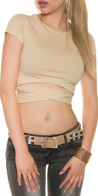 Sexy KouCla Crop Shirt in Wrap Look in Beige