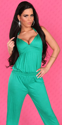 Sexy jumpsuit met V-Neck in Groen