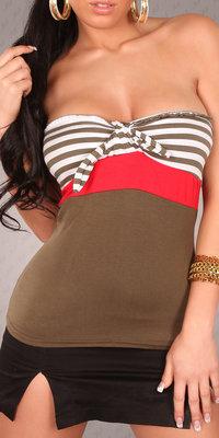 Sexy bandeau top met marine look in khaki