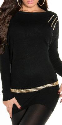Sexy KouCla jumper met steentjes op de schouder in zwart