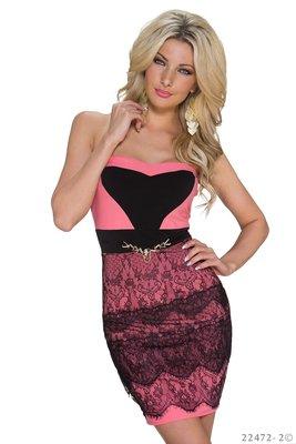 Sexy strapless mini jurkje van Italy Moda in Zalm