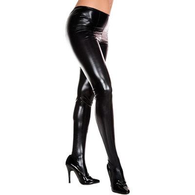 Wetlook Metallic Panty - Zwart