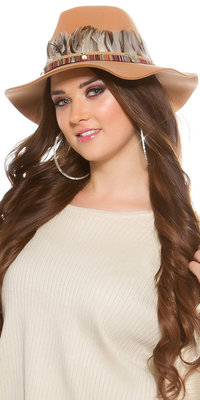 Trendy Fedora Hoed met Deco Feathers & Elements in Beige