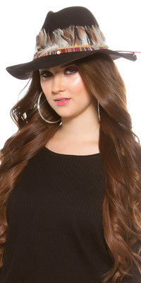 Trendy Fedora Hoed met Deco Feathers & Elements in Zwart