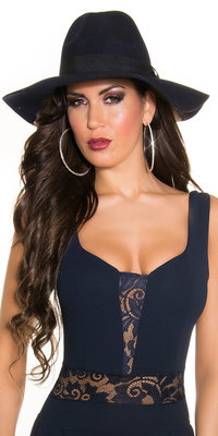 Trendy Fedora Felt Hoed met Ribbon in Navy