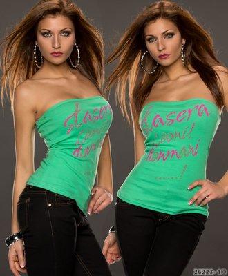Sexy bandeau top met opdruk in groen