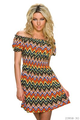 Sexy multi kleuren mini jurk van Angelie in oranje