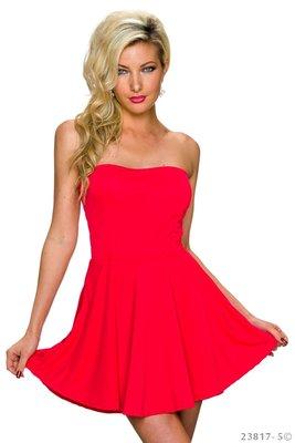 Sexy strapless mini jurkje in Rood