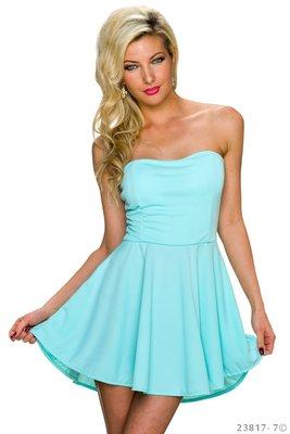 Sexy strapless mini jurkje in Turquoise