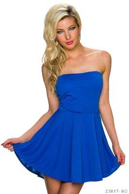 Sexy strapless mini jurkje in Blauw
