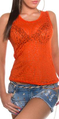 Sexy transparant topje met luipaard look in oranje