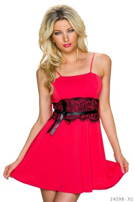 Sexy spaghetti strap mini jurk in rood