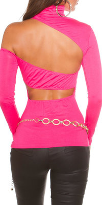 Sexy KouCla One Shoulder Turtlneck Shirt in Fuschia