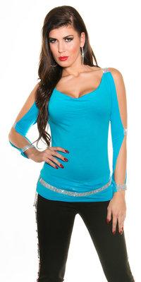 Sexy Longsleeve met Open sleeves en Rhinestones in Turquoise