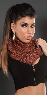 Trendy Knit Loop Sjaal in Caramel