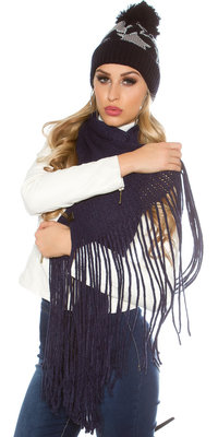Trendy XL Knit Sjaal met fringe in Navy