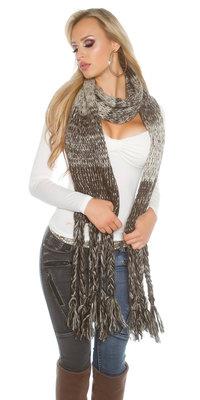 Trendy XXL Sjaal met fringes in Bruin