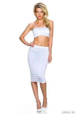 Sexy Set Top + Rok van L.B. Moda in Wit