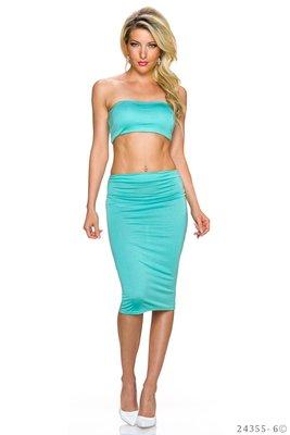 Sexy Set Top + Rok van L.B. Moda in Turquoise