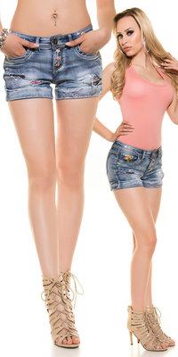 Sexy Koucla Jeans Shorts met Steentjes & Flowers