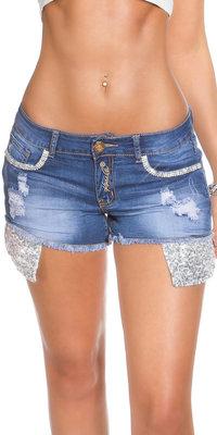 Sexy KouCla Jeans Shorts met Strass en Pailletten