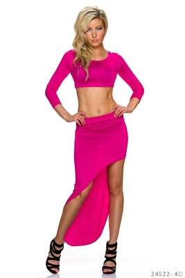Sexy Set Shirt + Rok van L.B. Moda in Fuschia