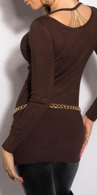 Sexy KouCla longsweater met kettingen op de rug in bruin
