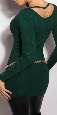 Sexy KouCla longsweater met kettingen op de rug in groen