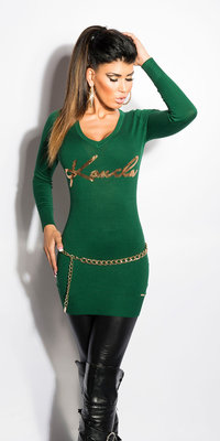 Sexy koucla V-cut lange sweater met pailletes in groen