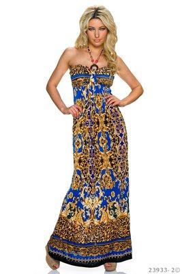 Sexy strapless maxi jurk van Miss 83 in blauw/donker blauw