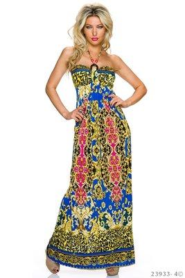 Sexy strapless maxi jurk van Miss 83 in blauw/roze