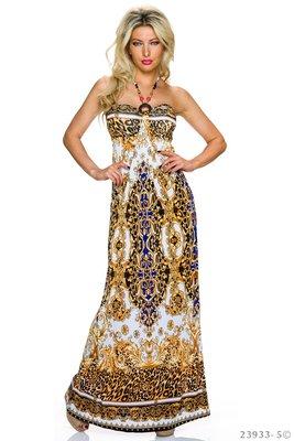 Sexy strapless maxi jurk van Miss 83 in wit/blauw