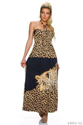 Sexy maxi jurk van Breakout in zwart/leo