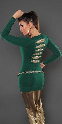 Sexy KouCla longsweater met pailletten op de rug in groen