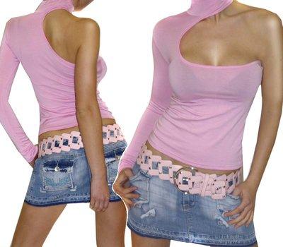 Sexy Longsleeve Shirt Asymmetric in Roze