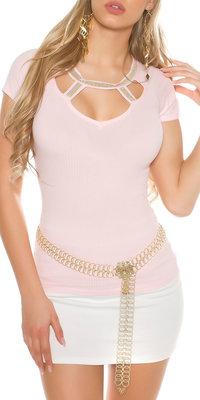 Sexy Shirt met Sexy Decolleté in Roze