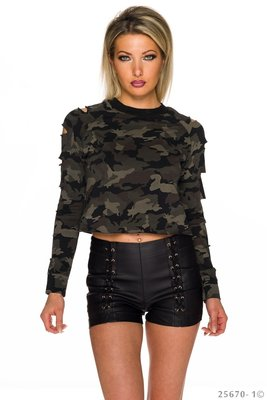 Sexy Sweat Shirt met Cut Outs in Camouflage