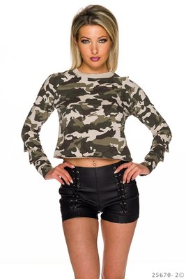 Sexy Sweat Shirt met Cut Outs in Camouflage-Creme
