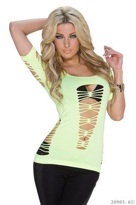 Sexy Net Shirt van Katia in Geel
