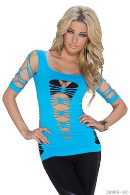 Sexy Net Shirt van Katia in Blauw