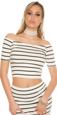 Sexy Short Sleeve Crop Top met Open Shouders in Khaki