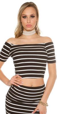 Sexy Short Sleeve Crop Top met Open Shouders in Zwart