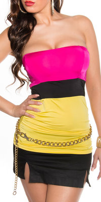Sexy Colour Blocking Bandeau Top in Fuschia/Geel