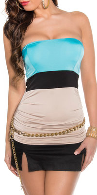 Sexy Colour Blocking Bandeau Top in Turquoise/Beige