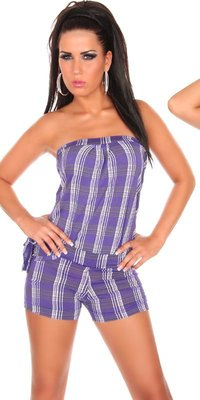 Sexy Bandeau Jumpsuit Hotpants Look in Paars