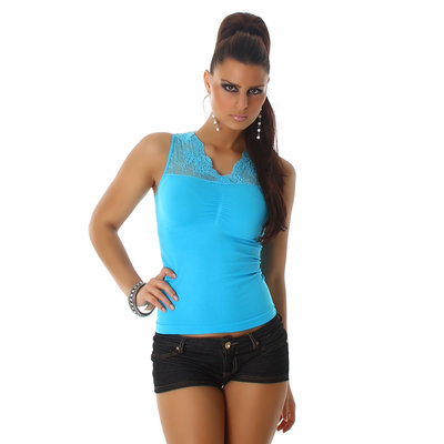 Sexy top met Kant VM-135 in turquoise