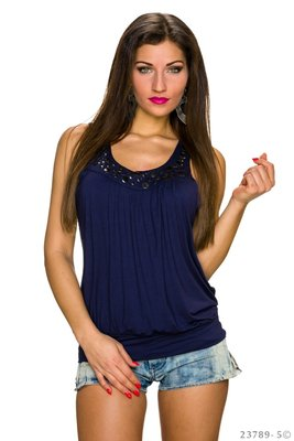 Sexy Muse Top met studs in Donker Blauw