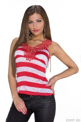 Sexy Basic Gestreept Topje in Rood