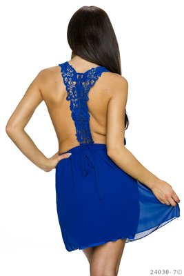Sexy Moda Mini Jurk in Blauw