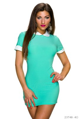 Sexy mini Jurk met kraag in Turquoise